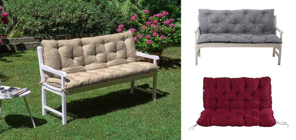Eine Gartenbank-Auflage kaufen, damit die Bank im Garten weich und warm zum längeren Sitzen einlädt. Hier finden Sie Gartenbankauflagen, Bank-Sitzpolster und weitere Polster-Produkte für den Sitzer. Amazon Prime Versand